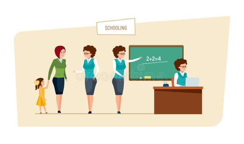 Schulung des Konzeptes Bildung in der Schule Klassen und Lektion im Klassenzimmer vektor abbildung