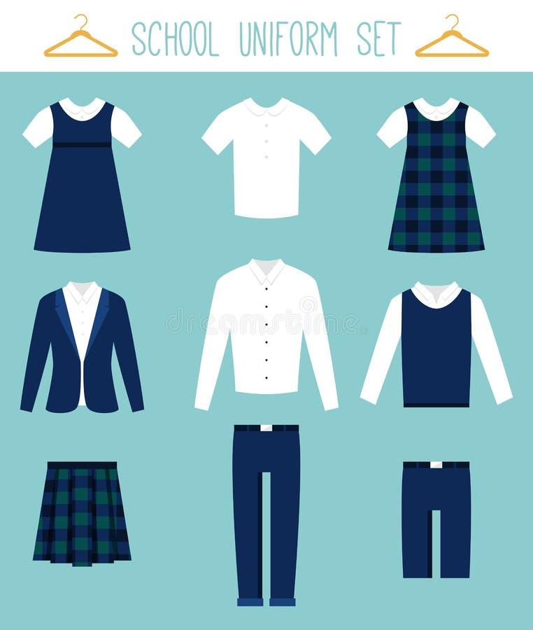 Schuluniformen für Kinder Kinderkleidungs-Vektor-Satz stock abbildung