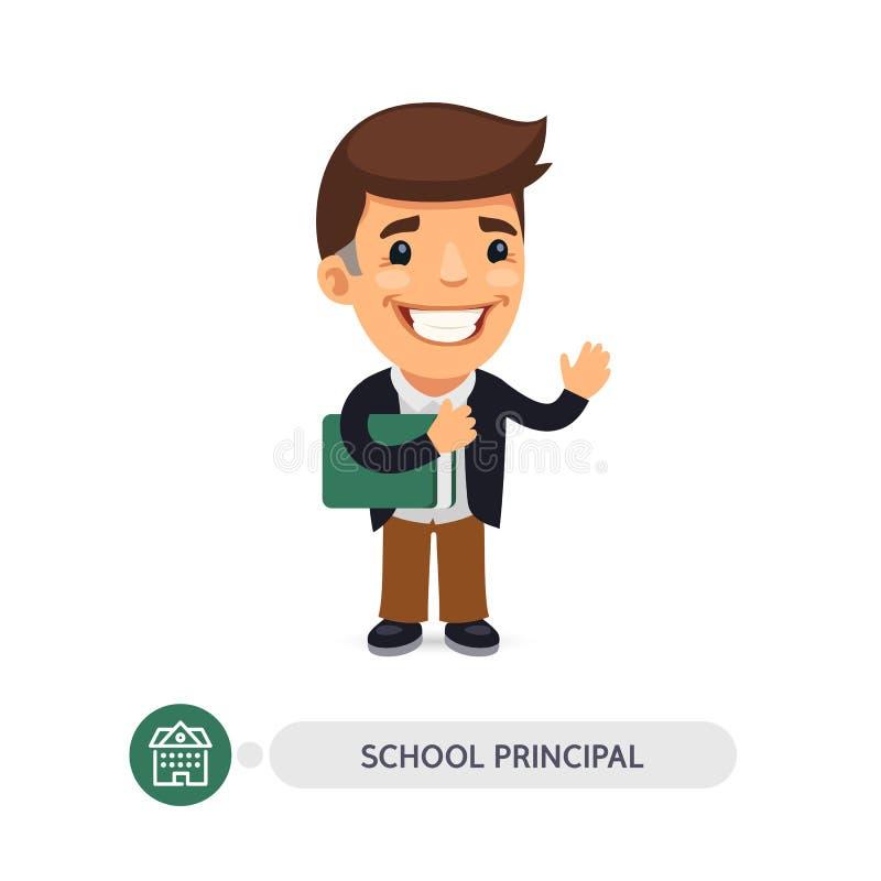 Schulvorsteher Flat Cartoon Character vektor abbildung