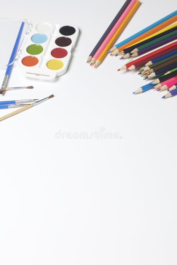 Schulzubehör für Kreativität stockfoto