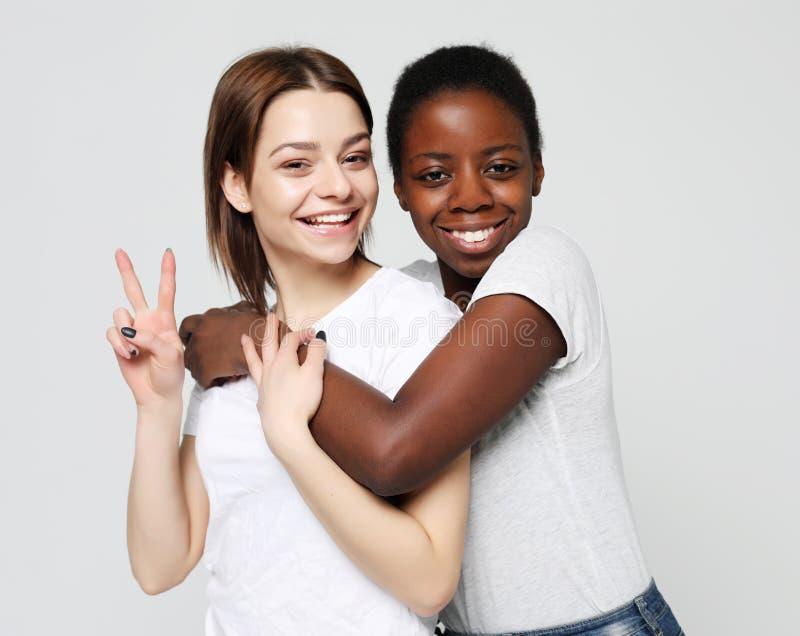 Schuss des glücklichen zwischen verschiedenen Rassen homosexuellen Paarumarmens stockfotos