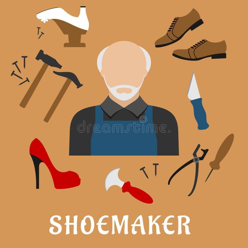 Schuster mit Schuhen und Werkzeugen, flache Ikonen vektor abbildung