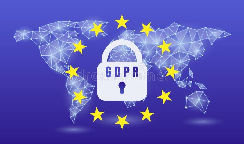 Schutz GDPR General-Daten vorgeschriebene EU, auf einem Neonweltkartehintergrund Auch im corel abgehobenen Betrag vektor abbildung