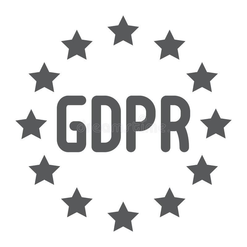 Schutz General-Daten vorgeschriebene Glyphikone, Privatleben und Informationen, gdpr Zeichen, Vektorgrafik, ein festes Muster auf lizenzfreie abbildung