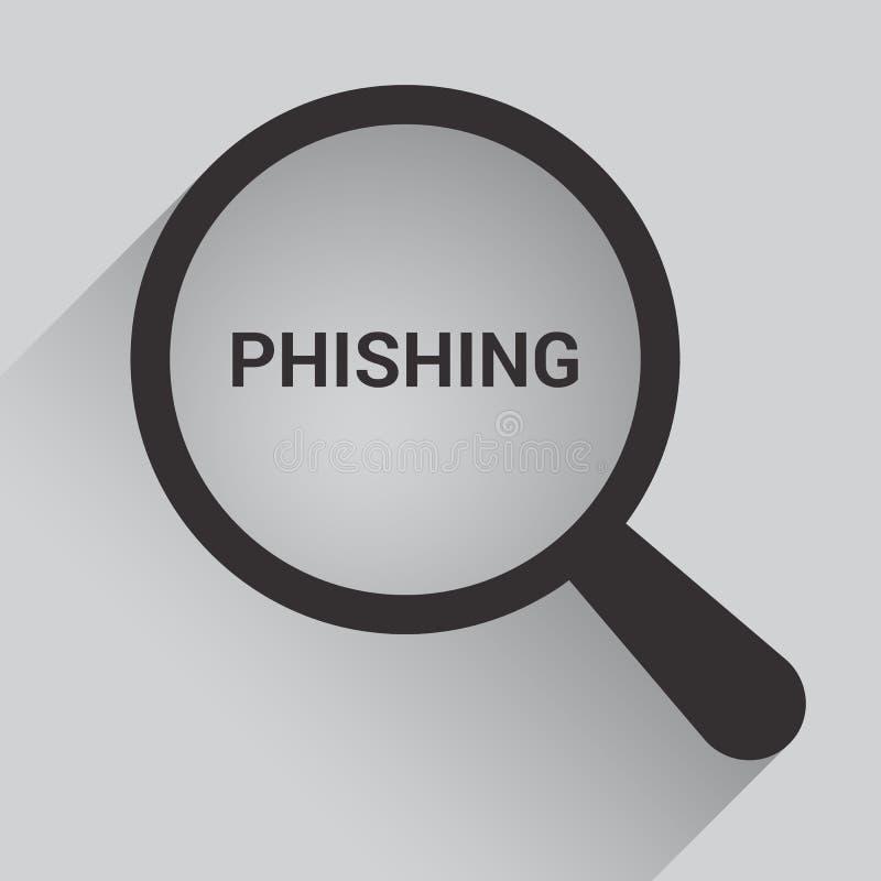 Schutz-Konzept: Optisches Vergrößerungsglas mit Wörtern Phishing stock abbildung