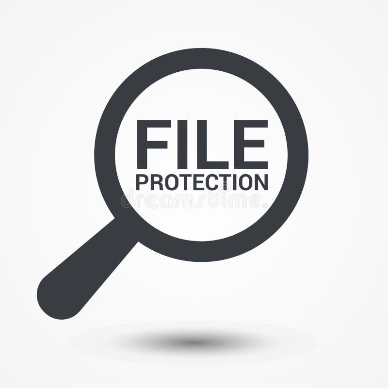 Schutz-Konzept: Optisches Vergrößerungsglas mit Wort-Dateisicherung lizenzfreie abbildung