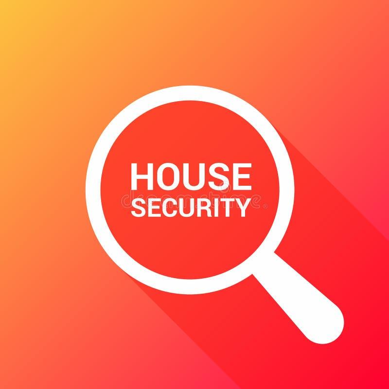 Schutz-Konzept: Optisches Vergrößerungsglas mit Wort-Haus-Sicherheit vektor abbildung