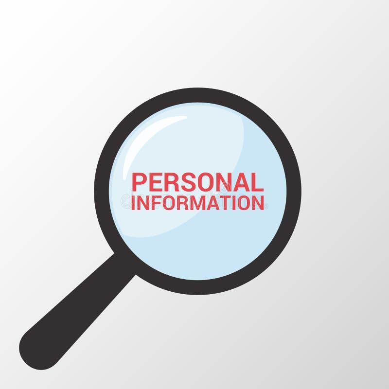 Schutz-Konzept: Optisches Vergrößerungsglas mit Wort-persönlicher Information lizenzfreie abbildung