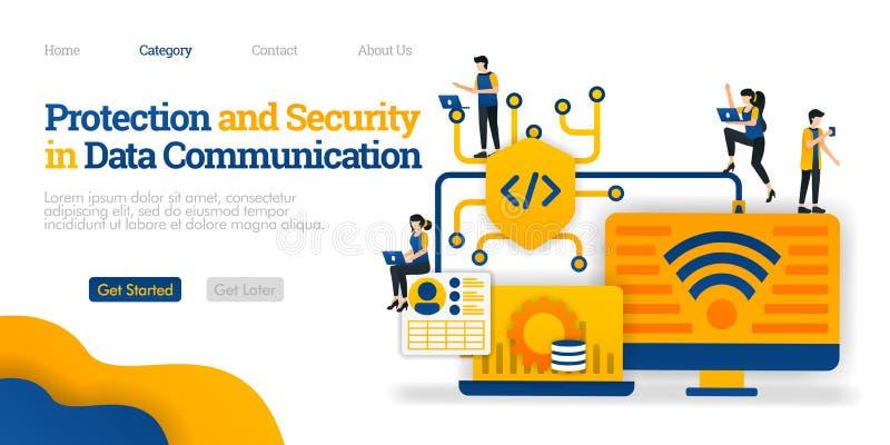 Schutz und Sicherheit im Datenaustausch schützen Sie Datenverbundweg für Benutzersicherheit Flaches Illustrationskonzept des Vekt vektor abbildung