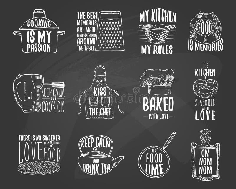 Schutzblech und Kasserolle, Bagel und hölzernes Brett mit Haube Backen oder schmutzige Küchengeräte, Material kochend Logoemblem  vektor abbildung