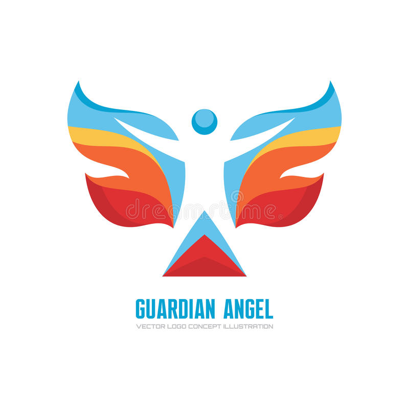 Schutzengel - Vektorlogoschablonen-Konzeptillustration Menschlicher Charakter mit farbigen Flügeln Schmetterlingszeichen Weihnach lizenzfreie abbildung