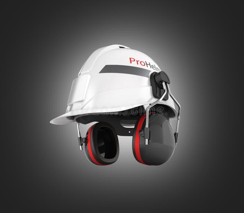 Schutzhelmsicherheit halmet mit den Ohrenschützern lokalisiert auf schwarzem Steigungshintergrund 3d lizenzfreie abbildung