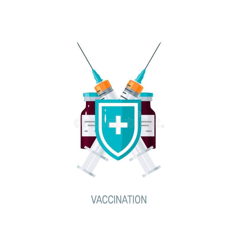 Schutzimpfungskonzept, Vektorbild in der flachen Art lizenzfreie abbildung