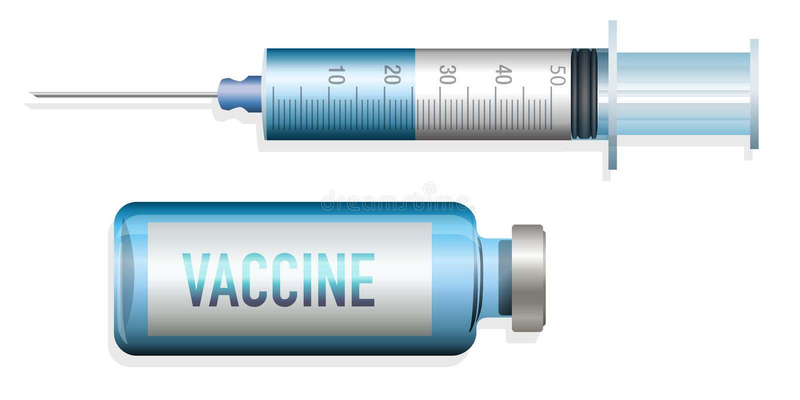 Schutzimpfungskonzept, zum einer Epidemie, mit einer Spritze und einem Serum zu stoppen lizenzfreie abbildung