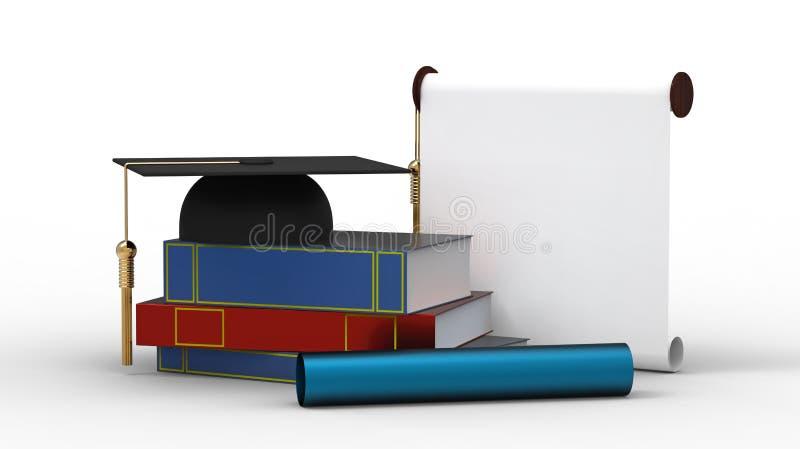 Schutzkappe, Diplom und Bücher stock abbildung
