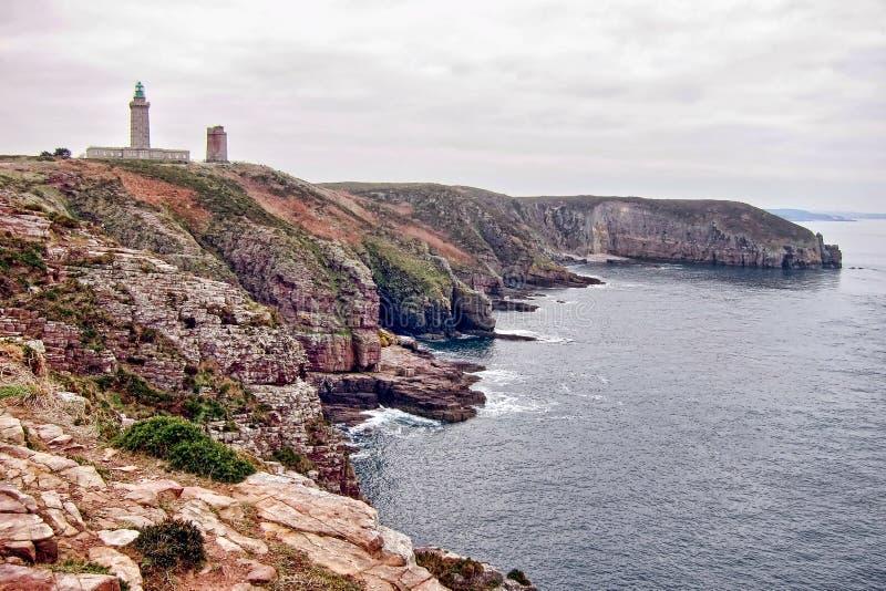 Schutzkappe Frehel in Bretagne Frnace lizenzfreies stockbild