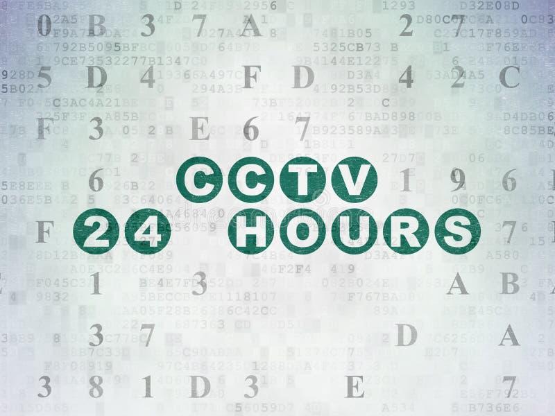 Schutzkonzept: CCTV 24 Stunden auf Digital-Daten tapezieren Hintergrund lizenzfreie abbildung