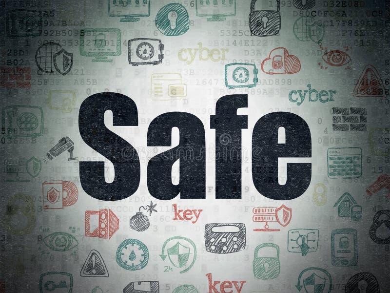 Schutzkonzept: Safe auf Digital-Daten-Papierhintergrund vektor abbildung