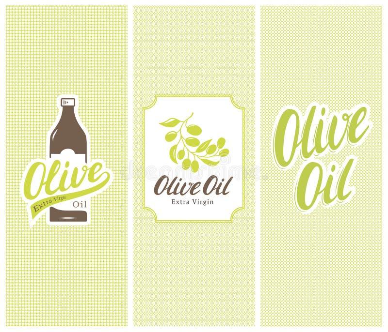 Schutzmarkeflasche, -aufkleber und -aufkleber des Olivenöls mit nahtlosen Mustern vektor abbildung