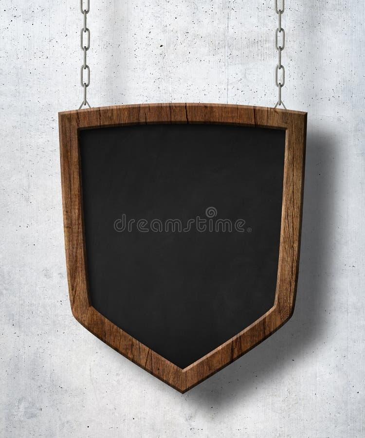 Schutzschild formte die Tafel, die an den Ketten und am Betonmauerhintergrund hängt lizenzfreie stockfotos
