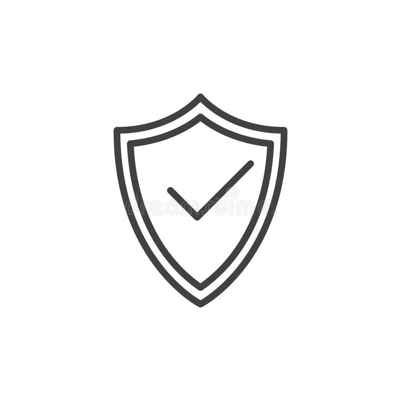 Schutzschild mit Häkchenlinie Ikone, Entwurfsvektorzeichen, lineares Artpiktogramm lokalisiert auf Weiß Symbol, Logo illustrat stock abbildung