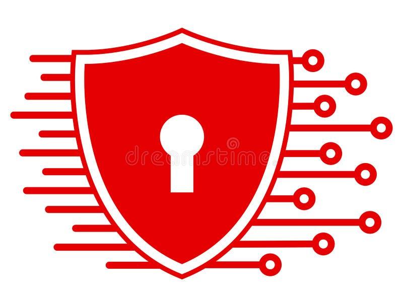 Schutzschild-Technologieikone, Internetsicherheit für Netz - Vektor stock abbildung