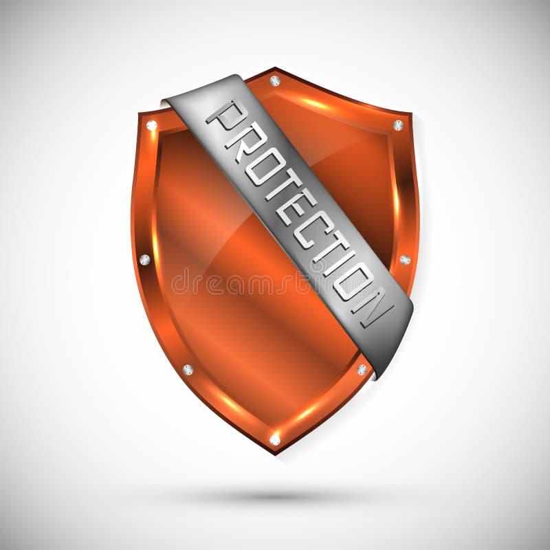 Schutzschildkonzept mit Fahne Sicherheitsausweisikone Privatlebenfahne Sicherheitsaufkleber Verteidigungstag Darstellungsaufklebe stock abbildung