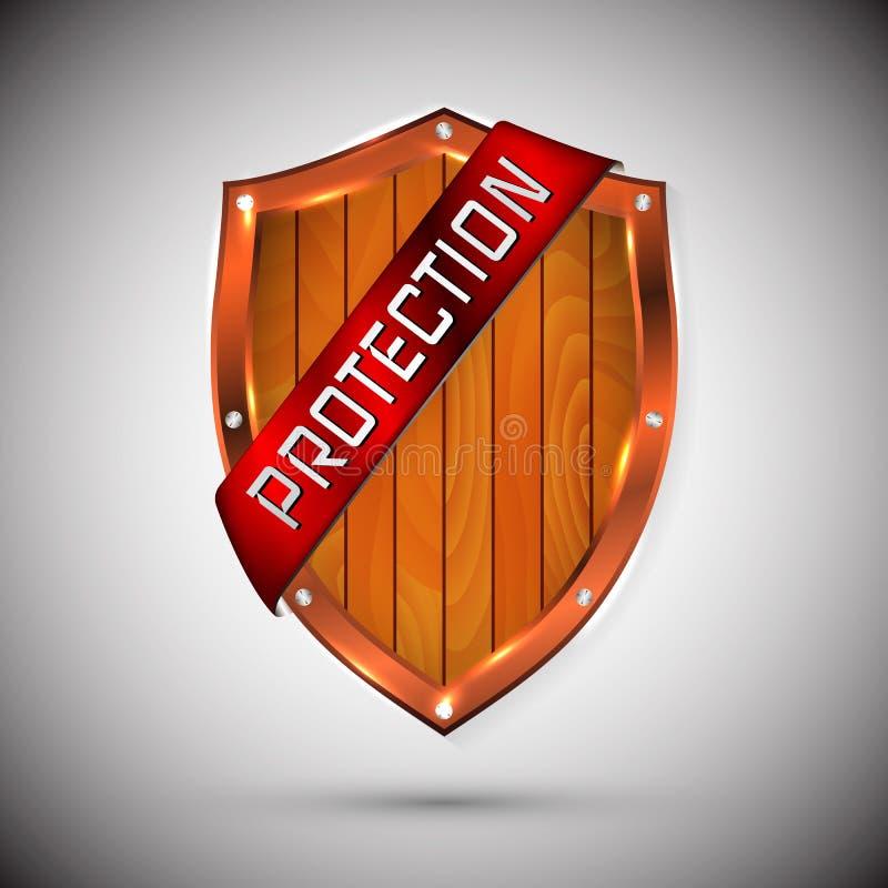 Schutzschildkonzept mit Fahne Sicherheitsausweisikone Privatlebenfahne Sicherheitsaufkleber Verteidigungstag Darstellungsaufklebe vektor abbildung