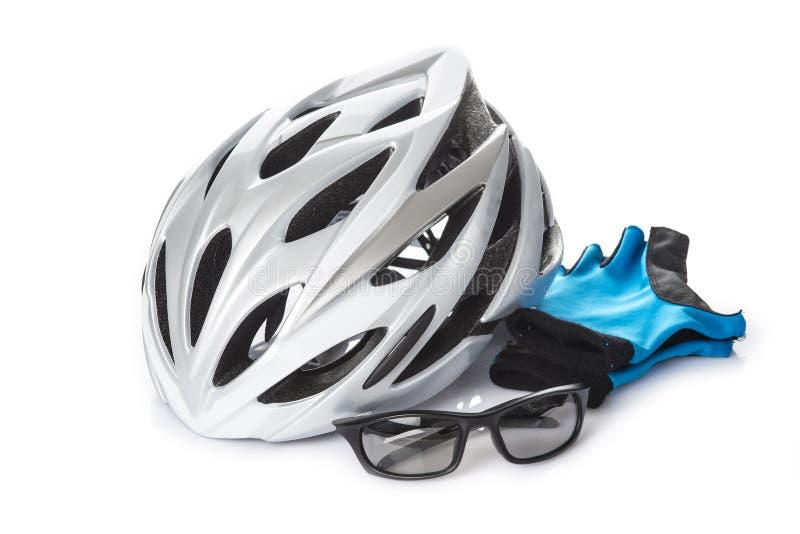 Schutzsturzhelmhandschuhe und -gläser für das Radfahren lizenzfreie stockfotografie
