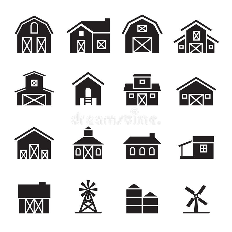 Schuur & landbouwbedrijf de bouw pictogramreeks vector illustratie