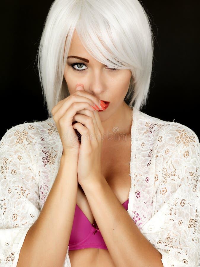 Schuw Coy Demure Young Woman royalty-vrije stock afbeelding