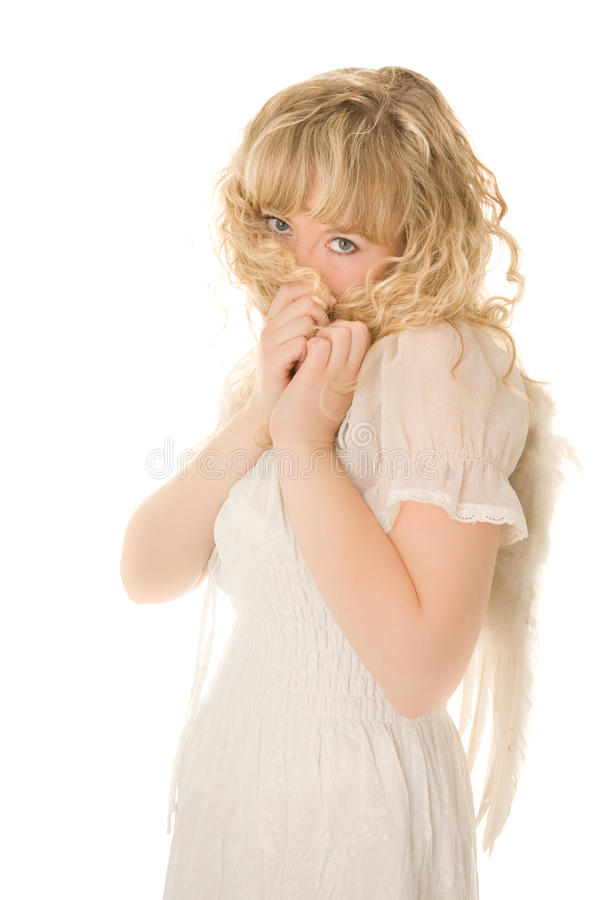 Schuwe blonde engel royalty-vrije stock foto