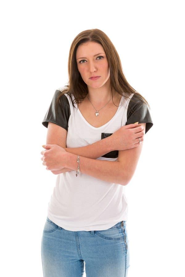 Schuwe jonge vrouw stock afbeeldingen