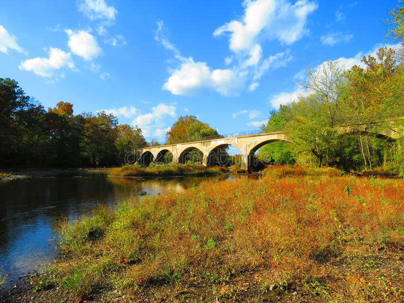Schuylkill在Douglassville,宾夕法尼亚附近的河足迹 免版税库存图片