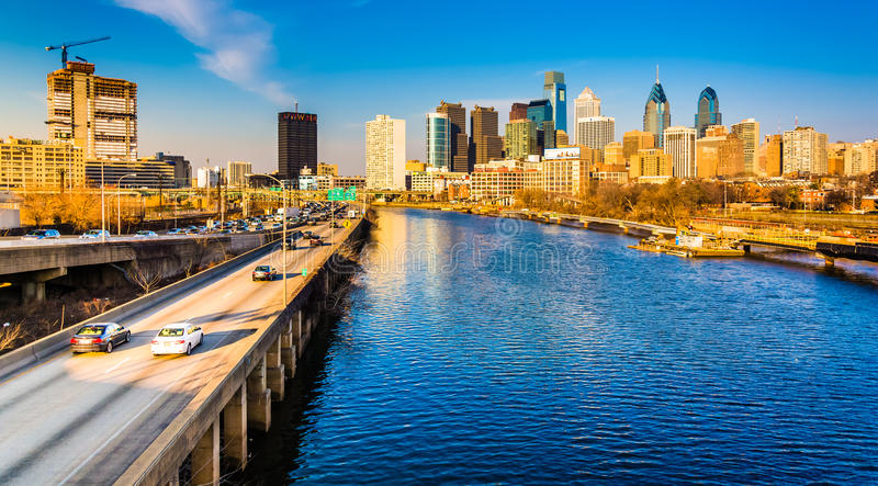 Schuylkill Filadelfia i autostrady linia horyzontu widzieć od zdjęcia royalty free