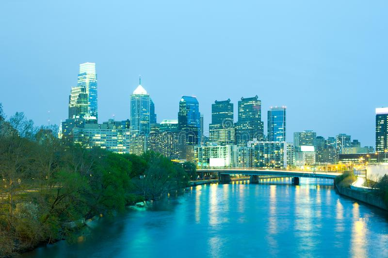 Schuylkill River and city skyline of Philadelphia. Schuylkill River and city skyline, Philadelphia, Pennsylvania, USA stock photo