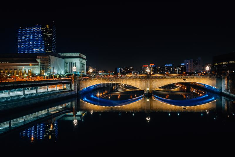 The Schuylkill River and Market Street Bridge at night, in Philadelphia, Pennsylvania.  royalty free stock images