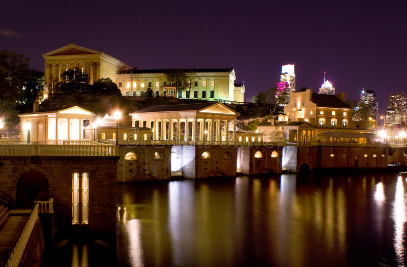 Schuylkill River at nigh stock photography