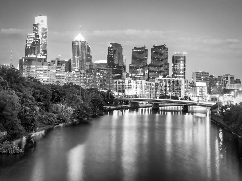 Schuylkill River and Philadelphia skyline at night stock images