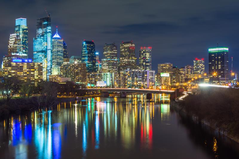 The Schuylkill River and skyline at night, in Philadelphia, Pennsylvania.  royalty free stock photography