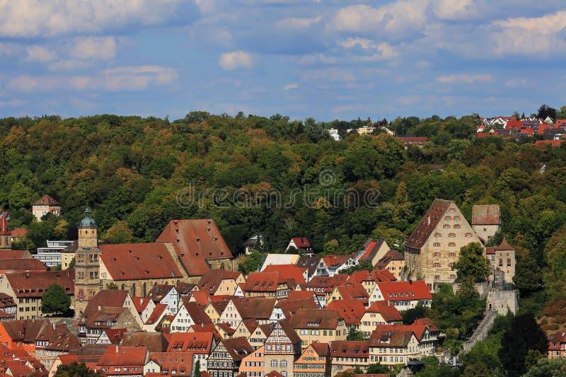 Schwäbisch Corridoio è una città in Baviera, Germania fotografie stock libere da diritti
