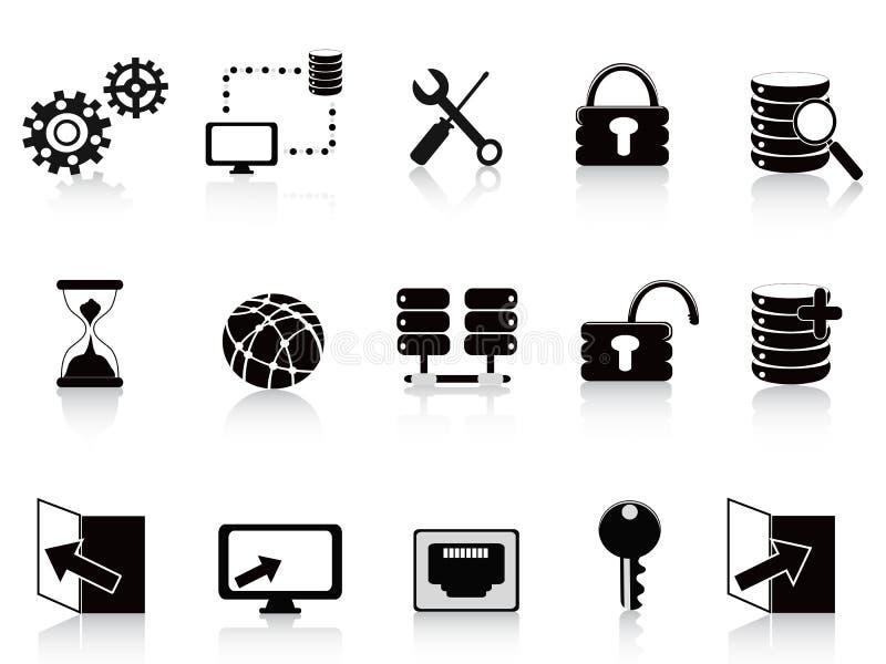 Schwärzen Sie Datenbank und Technologieikone stock abbildung