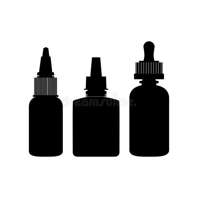 Schwärzen Sie die lokalisierten vape Flaschenschattenbilder, die mit Flüssigkeit oder Aroma eingestellt werden Elektronische Ziga stock abbildung