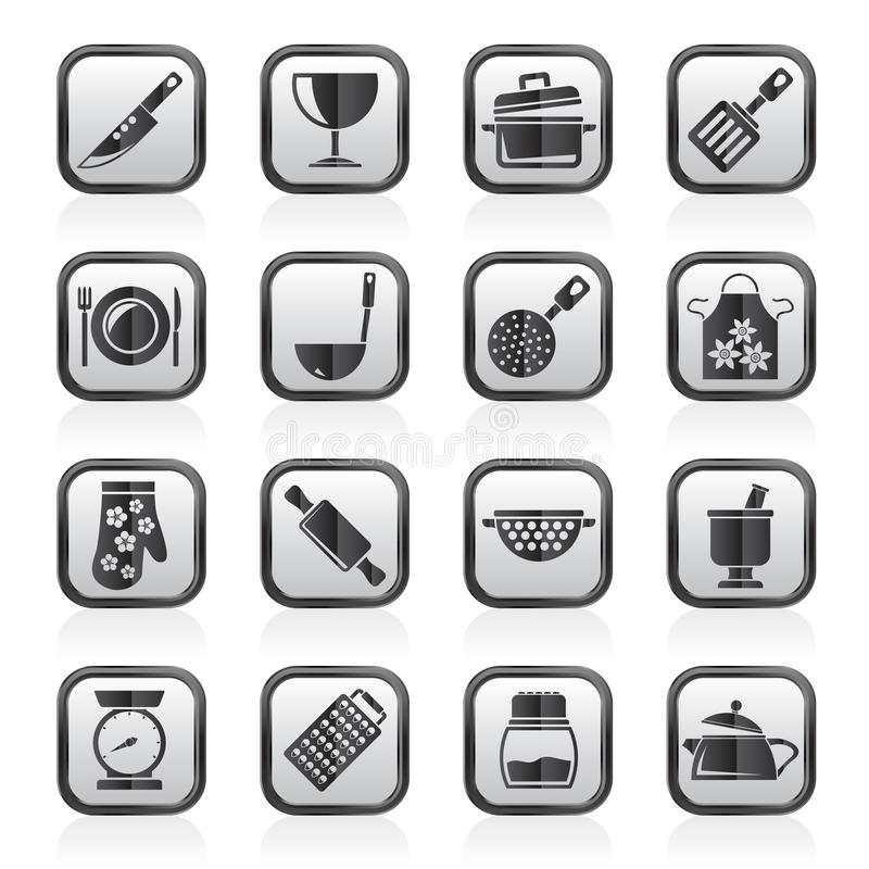 Schwärzen Sie ein Weiß, das Ausrüstungs-Ikonen kocht stock abbildung