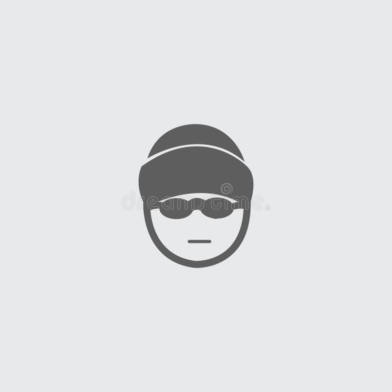 Schwärzen Sie flachen Skifahrerkopf, Mütze und Glasikone vektor abbildung