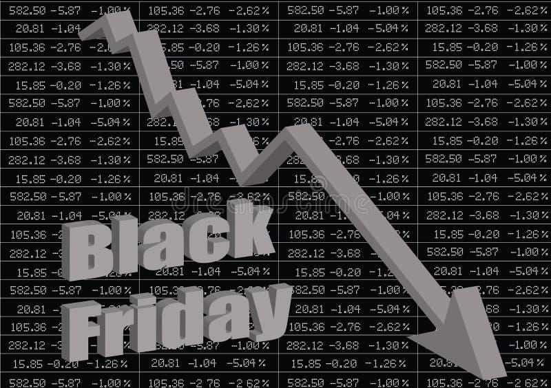 Schwärzen Sie Freitag Der Börsencrash lizenzfreie abbildung