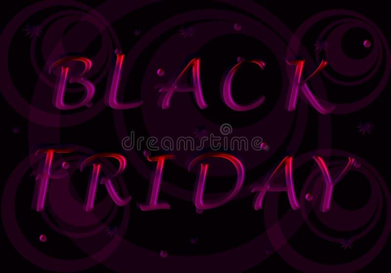 Schwärzen Sie Freitag Die Aufschrift von den purpurroten Buchstaben stock abbildung