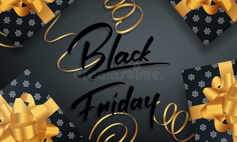 Schwärzen Sie Freitag Fahne für Wintersaisonverkauf Glatte Pakete und Goldkonfettis vektor abbildung