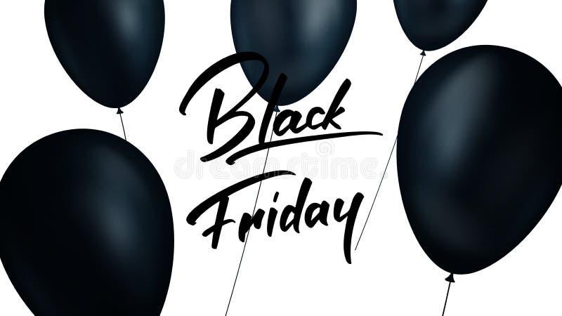 Schwärzen Sie Freitag Fahne mit realistischen schwarzen Ballonen und dem modischen Handlettering Black Friday-Verkaufshintergrund stock abbildung