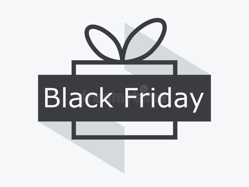 Schwärzen Sie Freitag Geschenkbox mit dem Band lokalisiert auf weißem Hintergrund Große Rabatte und Verkäufe Vektor vektor abbildung